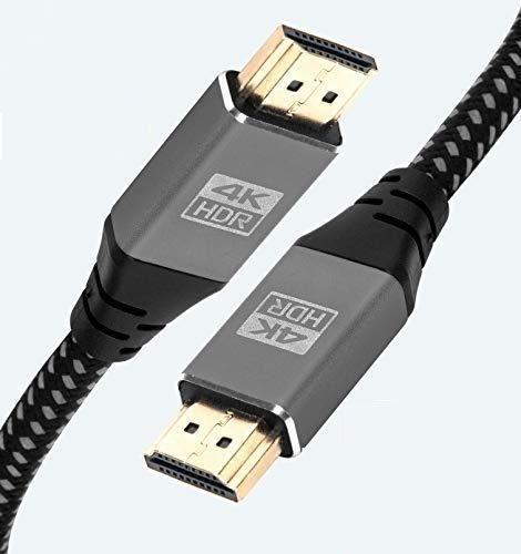 IBRA 2.1 HDMI-Kabel, 8K Ultra High-Speed, 48 Gbit/s, unterstützt 8K @ 60 Hz, 4K @ 120 Hz, 4320p – 0,75 m, schwarz/grau