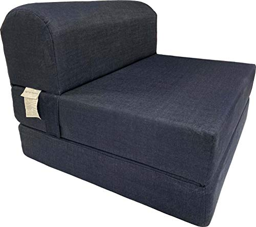 D&D Futon Furniture Denim Sleeper Chair Folding Foam Beds, Foldable Sofa Couches, 6 x 32 x 70, Foam Density 1.8
