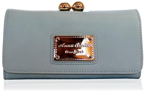 Anna Smith Martinee Genuino Nuovissimo Con Portafoglio Con Placca Oro Logo Anna Smith, Borsa, Frizione Con Scatola Regalo - Blu