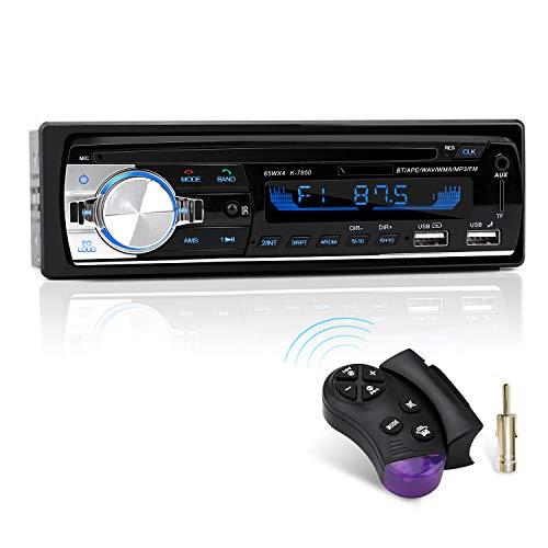 Autoradio mit Bluetooth Freisprecheinrichtung und Lenkrad-Fernbedienung, 1 DIN Autoradio MP3 Player/FM Radio, 2 USB Anschlüsse für Musikspielen und Aufladen