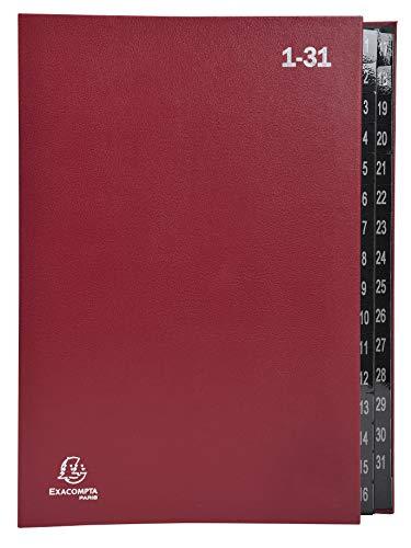 Exacompta 57035E Recycling Pultordner Ordonator aus extra starkem Karton 32 Fächer 1-31 für DIN A4 Sichtlöcher plastikverstärkte Taben Ordnungsmappe Fächermappe Registermappe rot
