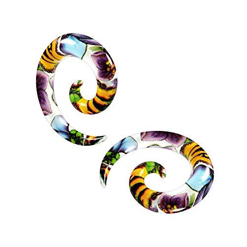 BanaVega 2 dilatadores acrílicos con forma de flor colorida, en espiral, dilatador, expansor para pendientes, joyería a elegir tamaños