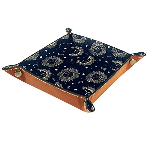 AITAI Bandeja de valet de cuero vegano, organizador de mesita de noche, placa de almacenamiento para escritorio, diseño bohemio, luna y sol