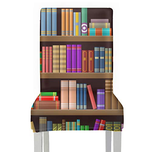 Fundas para asientos de sillas Libros en biblioteca Librería Comedor Fundas protectoras para sillas Fundas de poliéster elásticas Funda extraíble lavable para comedor Sillas para el hogar Cocina Fies