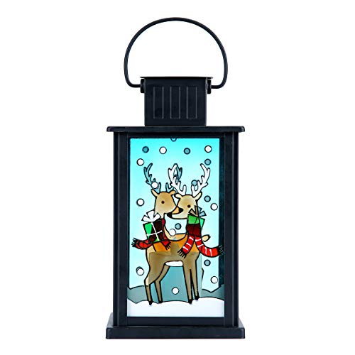hourflik Solar Lantern,Outdoor Garden Hanging Lanterns,Waterproof LED Flickering Flameless Candle Mission Lights for Table,Outdoor,Party Decorative (L2006)