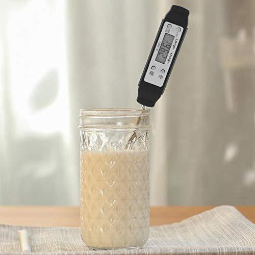 Emoshayoga Termómetro para Barbacoa con sonda Plegable Termómetro Digital para Alimentos de Lectura instantánea para Cocina(Black)