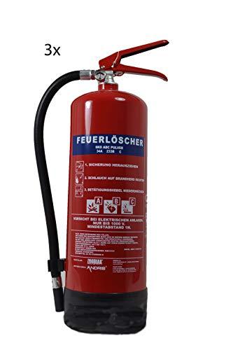 3 STÜCK 6 kg Pulver-Feuerlöscher der Profi mit 10 Löscheinheiten für Handwerk-Gewerbe und Industrie direkt ab Werk