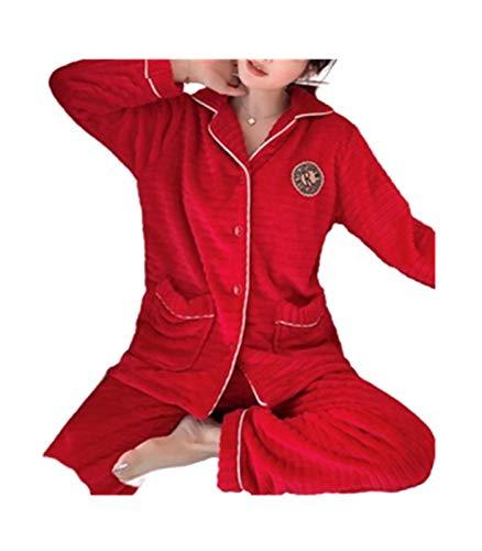 Tweepersoonsbed/Lovers flanel kerstpyjama pak voor heren professioneel design/rood/dames/XL