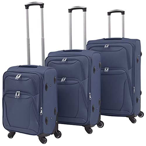 HUANGDANSP Juego de 3 Maletas Blandas Azul Marino Maletas y Bolsos de Viaje Maletas