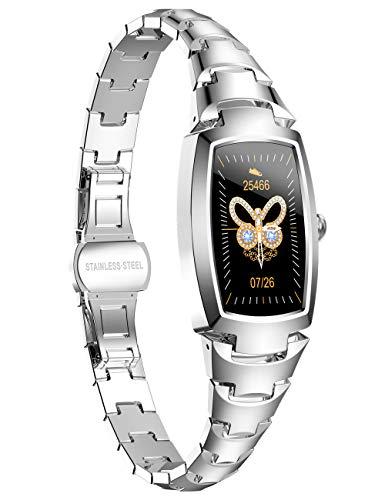 Smartwatch für Damen, silberfarben, mit Bluetooth und Fitness-Tracker-Funktion, IP68, wasserdicht, Zeitwerkzeug für Damen, Herzfrequenzmesser