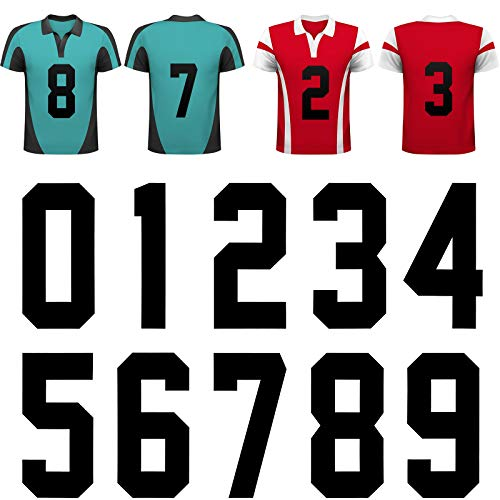 10 Piezas Números de Transferencia de Calor 0 a 9 Calcomanías de Números de Plancha de 8 Pulgadas para Jersey Camiseta Deportiva Camiseta de Equipo de Béisbol Fútbol, Negro