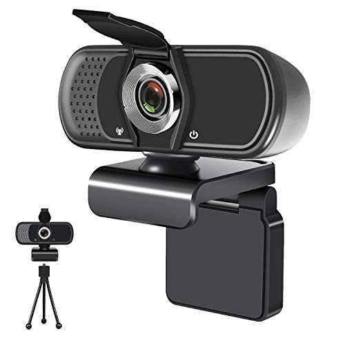 1080P USB Computer Webcam with Microphone, Tripod Stand & Cover, for Windows Mac OS PC, Laptop, Desktop, for Live Streaming, Video Call, Conference, Online Class- Auto Light Correction, Manual Focus