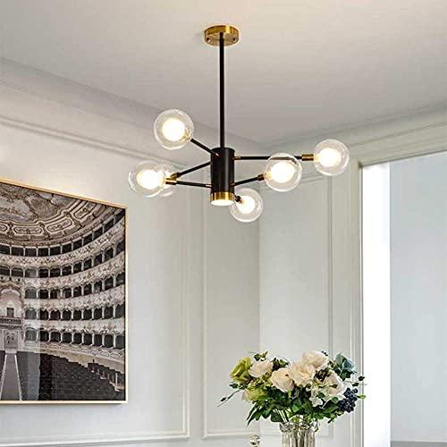 FGVBC Candelabro Moderno Sputnik, lámpara Colgante con Cortinas de Bola de Vidrio de Vidrio, Fuente de luz G9, lámpara de Techo para Comedor, casa, vestíbulo, Isla de Cocina, 3 + 3 Luces