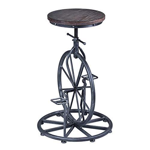 MAMASAM Industrial Wind Bar Stool Retro Creative Pedal Unicycle Bar Stool Adjustable Height,B