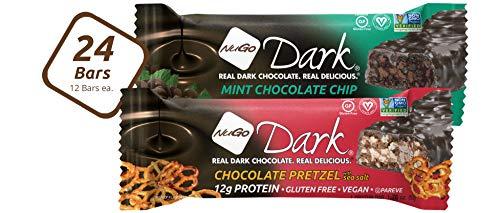 NuGo Dark Variety - Chocolate Pretzel 12 bars & Mint Chocolate Chip 12 bars, Vegan, 200 Calorie, Gluten Free, 24 count