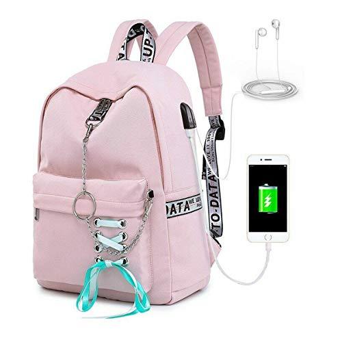 Greetuny Mochila USB Auriculares Colegios Mujer Mochila