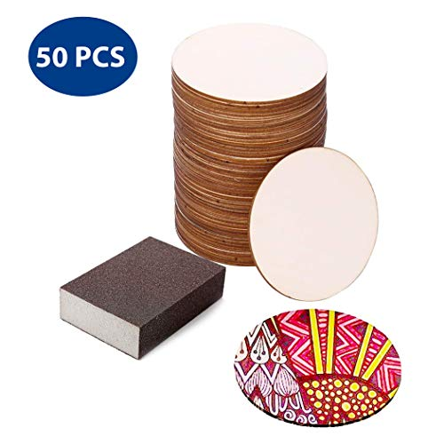 50 Pc Set of Unfinished Wood Circle Cutouts 4x4x0.1 Inch (10x10x0.25cm) with Bonus Sander | DIY Arts and Crafts Projects, Painting, Woodburning, Signs and More | Wood Pieces are Smooth and Durable