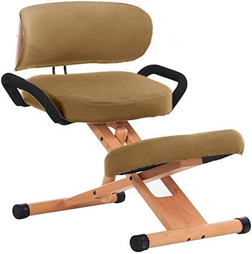 FMXYMC Ergonomic Kneeling Chair with Backrest, Lifting Sitting Position Correction Seat, Creative Children Learning Chair, Adjustable Kneeling Stool,Khaki