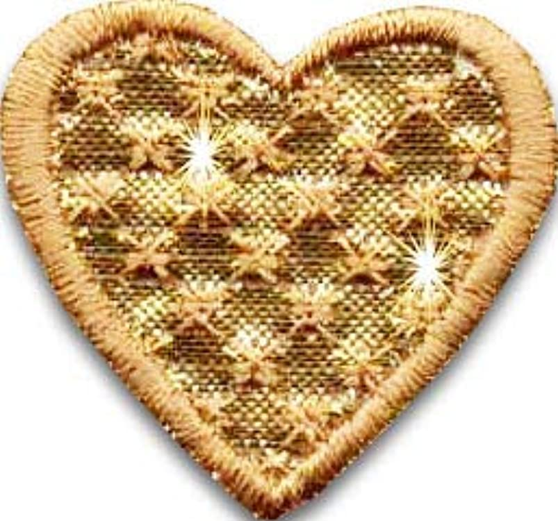 Iron On Patches - Gold Heart Patch Iron On 10pcs Patch Embroidered Applique Heart (1,18x1,26inch) S-42 huerqqsp877879