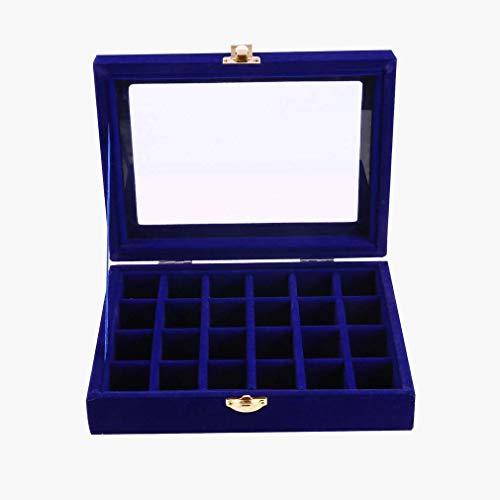 Nsdsb Caja de almacenamiento de terciopelo con 24 ranuras para guardar joyas, anillos, collares, joyas, color azul rey