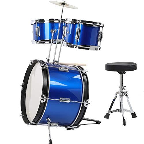 Kinder Drum Set,Kinder Schlagzeug Set Kindertrommel Kit Drum Kit 16-Zoll-Blau für Junior Kid, das Musikinstrument mit Hocker übt