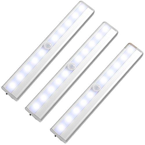Luz Armario LED [3 Piezas], 10 LED de Luz Lnalámbrica con Sensor de Movimiento, USB Cable de Carga, Auto en/Apagado Portátil, Lados con 1 tiras Magnéticas en Cualquier Sitio, Luz Blanca