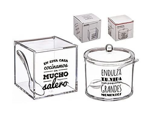 """dcasa - Salero y azucarero de cocina original acrilico diseño frase . """"""""LA SAL DE MI VIDA Y MOMENTOS DULCES"""""""""""