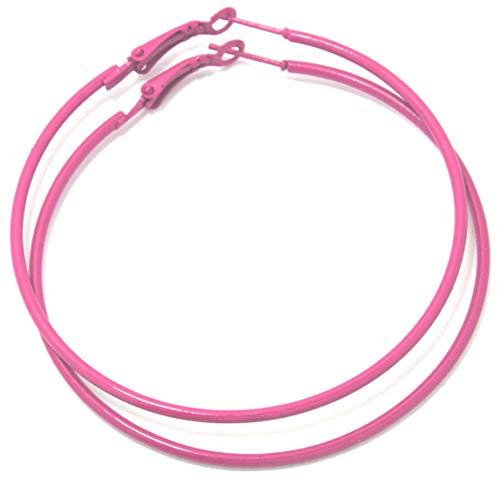 2LIVEfor Große Ohrringe Creolen Schwarz Weiß Rot Pink Blau Türkis Lila Hoop Earrings Ohrhänger Hoops Creolen Groß Rund Schlicht Modern (Pink hell)