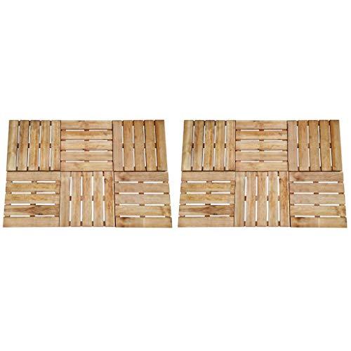 Festnight Baldosa de Porche 12 Unidades 50x50 cm Suelo de Madera FSC Respetuoso con el Medio Ambiente Marrón