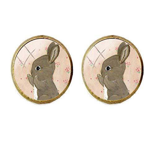 Manschettenknöpfe mit niedlichem kleinen schwarzen Kaninchen, Malerei, Schmuck, Glas, Kunst, Foto, Schmuck, Geschenk