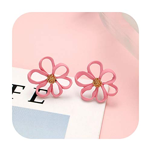 Fashion Pink Statement Earrings For Women Korean Acrylic Round Geometric Flower Drop Earring Female Girls Gold Brincos Jewelry-S18