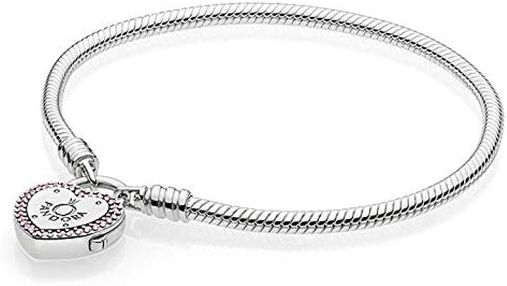 san valentino - pandora 580719, braccialetto da donna con chiusura a forma di cuore, di colore rosa 596586fpc-17
