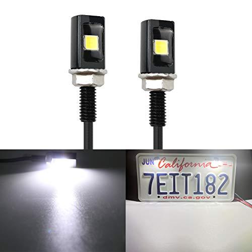 LivTee Super Bright 12V Waterproof Tag Screw Bolt License Plate LED Lights Holder Legal for Car Motorcycle Truck RV ATV Bike, Xenon White(2PCS)