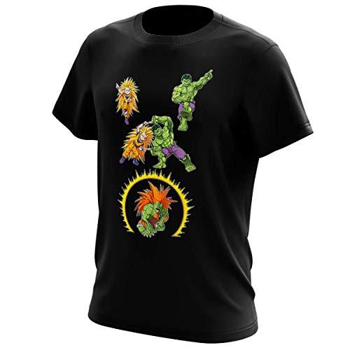 Okiwoki T-Shirt Noir DBZ - Street Fighter - Hulk parodique Sangoku, Hulk et Blanka : Fusion bestiale !! (Parodie DBZ - Street Fighter - Hulk)