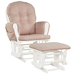 Productworld258 Baby Nursery Relax Rocker Rocking Chair Glider & Ottoman Set – Pink