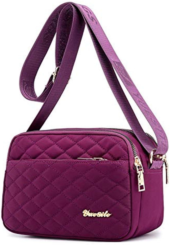 Nylon Shoulder Bag Lightweight Shoulder Crossbody Bag FourLayer Zipper Bag
