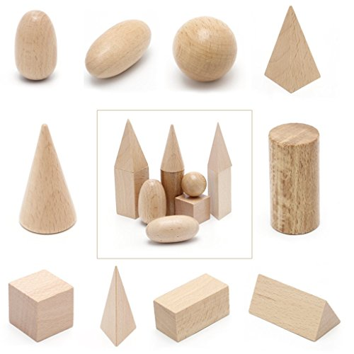 Wooden Geometric Solids 3D Shapes Montessori Learning Resources For School Home