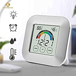 Kimdio Alarm Clock Touch Control Digital Thermometer Hygrometer Clock LCD Backlight Table Clock Comfort Index Display Temperature Humidity Meter Time for Bedroom Office