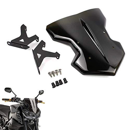 Moto Pare-Brise écran Shield avec support de montage pour Yamaha MT-09 FZ-09 2017-2018 (Noir)