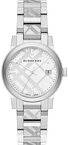 Reloj de pulsera suizo con grabado de plata con fecha 34 mm para mujer, de acero inoxidable, la ciudad BU9144