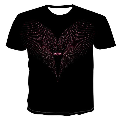 MIRANDA Camiseta de Manga Corta con Cuello Redondo y Estampado 3D Informal de los Hombres Sueltos de