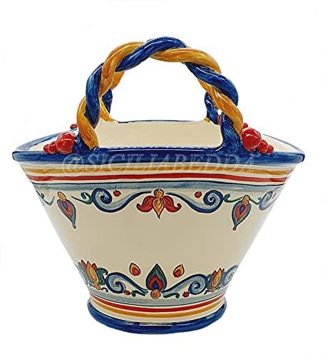 Sicilia Bedda - Coffa / Borsa Siciliana in Ceramica di Caltagirone - Prodotto Firmato realizzato interamente a Mano (Decoro Tradizionale 27x25 Cm)