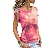 x8jdieu3 Summer Round Neck Tie Dyed Hole Burnt Flower Off Shoulder Short Sleeve T-Shirt Tops Women