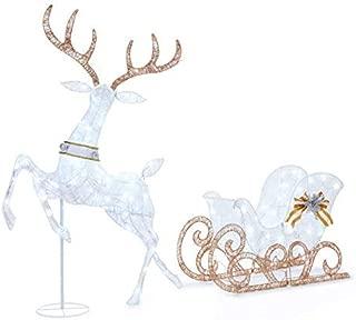 WWL 60 Inch Tall - Light-Up Deer & Sleigh, Pre-lit 2-Piece Set 210 Lights