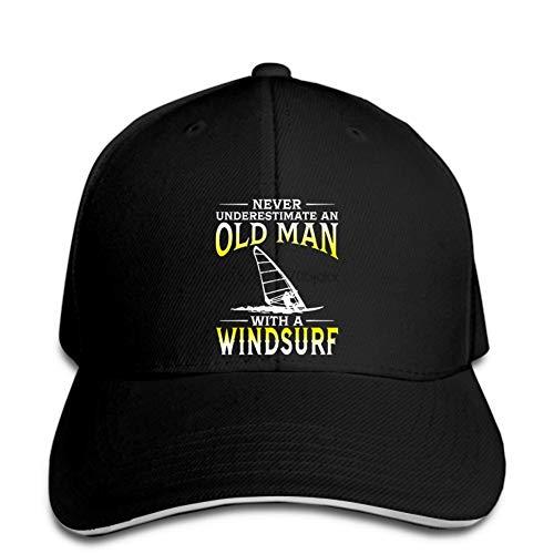 OEWFM Gorra de béisbol Negra con Visera Estampada entrepiso Gorra de béisbol de Windsurf para Hombre Viejo, Gorra de béisbol para niño, Gorra Snapback de Moda, Pico Regalo