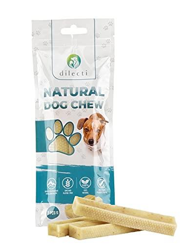 Prodotti da masticare naturali per cani - delizia per cani di lunga durata e molto gustosa! Gli snack per cani sono senza OGM o glutine, gli snack per cani sono inodori! (set da 3, taglia S)