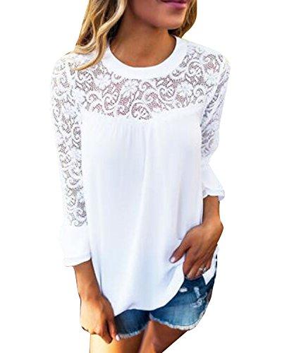 Auxo Damen Langarm Shirt mit Spitze T-Shirt Rundhals Oberteile Tops Basic Tunika Weiß EU 38-40/Etikettgröße M