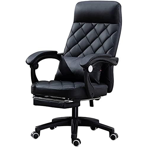 JNOIHF Sillas de tareas reclinables de cuero ajustable de sillas de oficina, silla de escritorio de computadora ejecutiva de 400lb con reposapiés retráctil y reposabrazos de acolchado grueso para el h