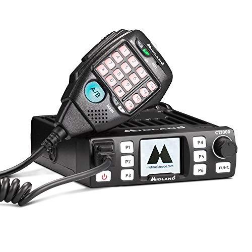 Midland CT3000 CB Radio Ricetrasmittente VHF/UHF Amatoriale da Professionisti, 200 Canali di Memoria Personalizzabili, Squelch Digitale e Ampio Display TFT - Ricetrasmettitore, Microfono da Palmo con