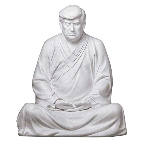 Former US President Donald Trump Resin Buddha President Statue, Handmade Model Souvenir Trump Novelty Items, Xitian Listening Buddha Statue, Suitable for Cars, Office Desk and Home Accessories